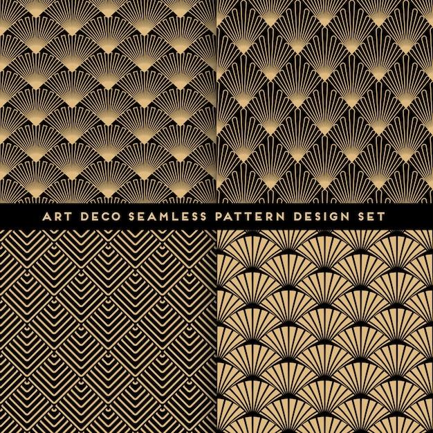 Art deco style seamless pattern design set Premium Vector
