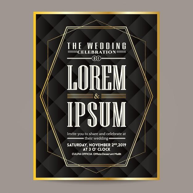 Art Deco Wedding Invitation Card Gold Border And Frame Premium Vector