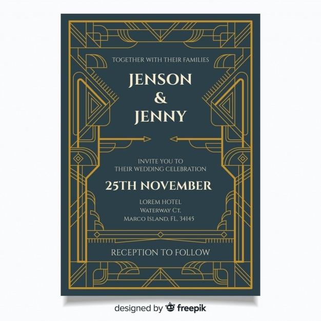 Art Deco Wedding Invitation Template Vector Free Download