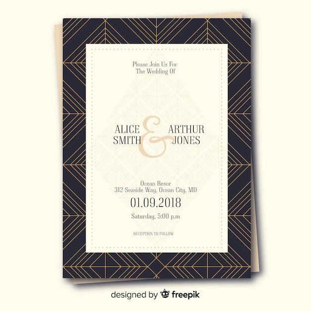 Art deco wedding invitation template Free Vector