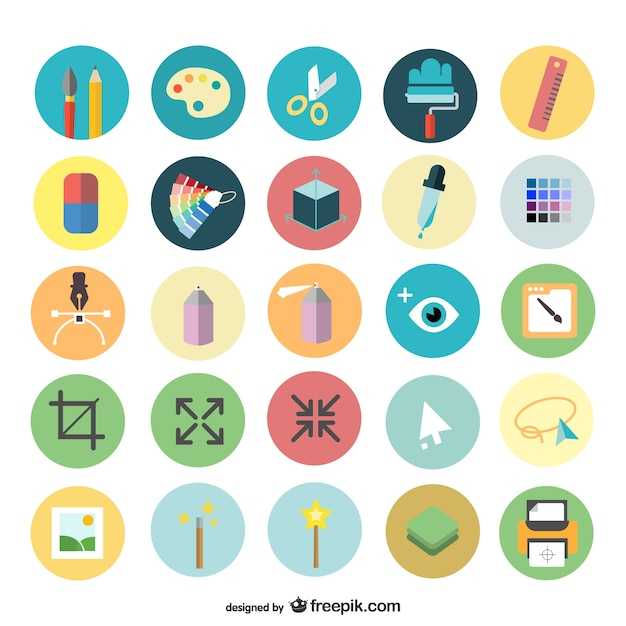 Art design icons set Free Vector