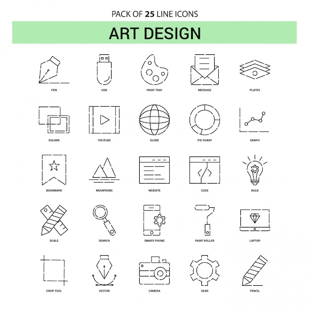 Art design line icon set - 25 dashed outline style Free Vector