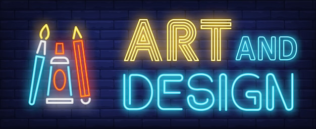 Art and design neon text with brush, pencil and paint tube Free Vector