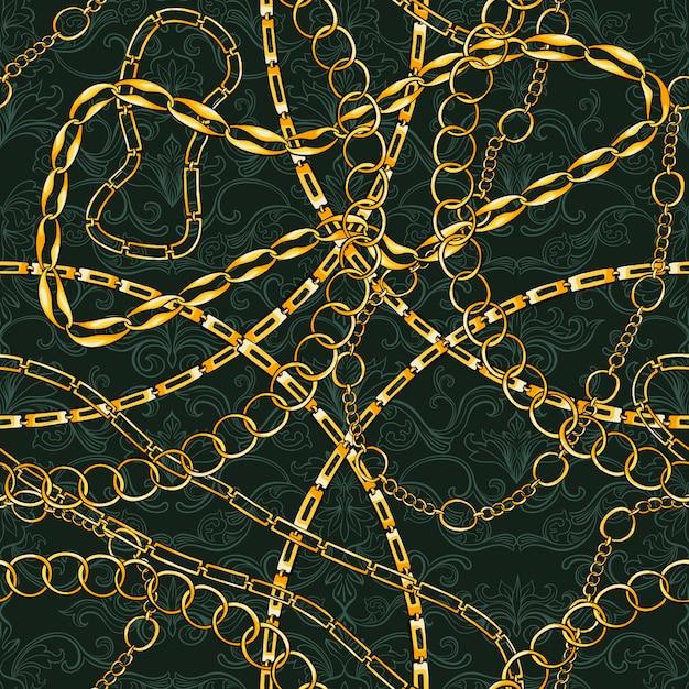 Безшовная картина с золотыми цепями винтажными ювелирными изделиями. золотой аксессуар для моды art design. декоративный модный. Бесплатные векторы