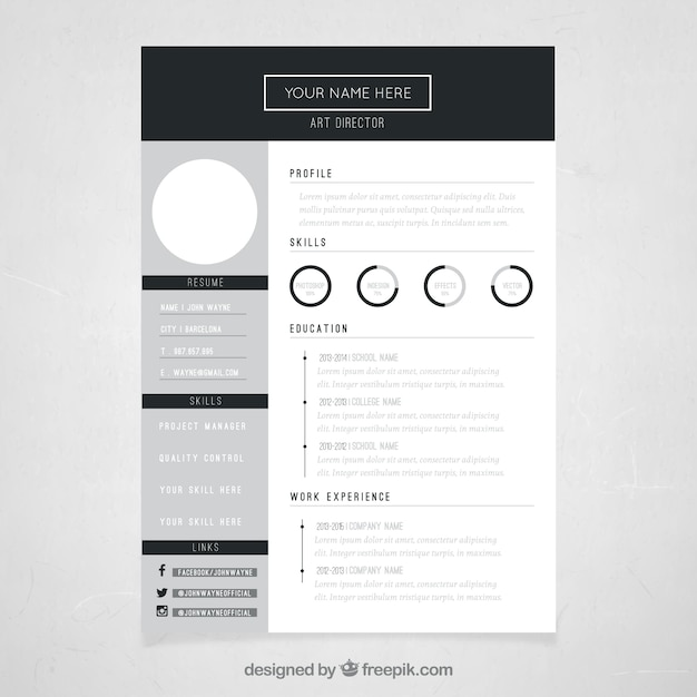 Art director resume template Free Vector