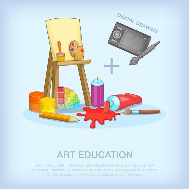 Art education tools concept set. cartoon illustration of art education tools vector concept for web Premium Vector