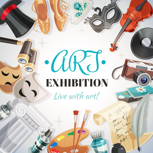 Art exhibition illustration Free Vector