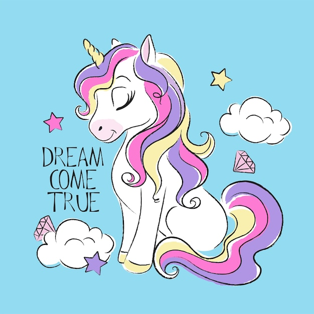 Art fashion illustration drawing in modern style for clothes. cute unicorn. dream come true text. Premium Vector