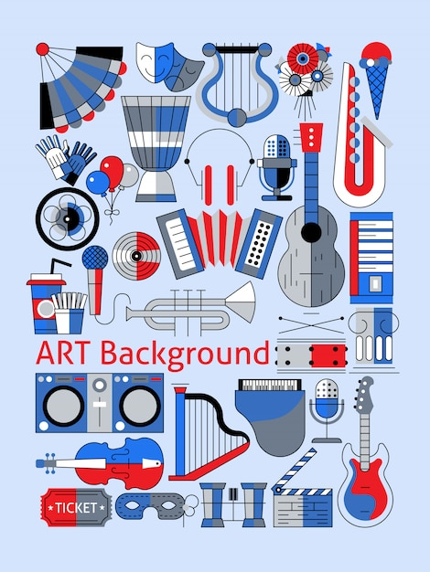 Art flat line music instruments composition set Free Vector