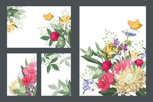アート花の挨拶と名刺。赤、黄、青の花とつぼみ、黄色の蝶、緑の茎と葉のカード。白い背景で隔離の花。 Premiumベクター