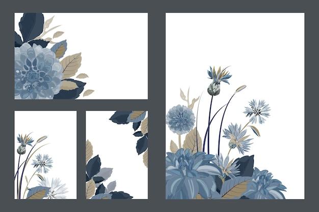 アート花の挨拶と名刺。青いヤグルマギク、ダリア、アザミの花、青、茶色の葉のパターン。白い背景で隔離の花。 Premiumベクター