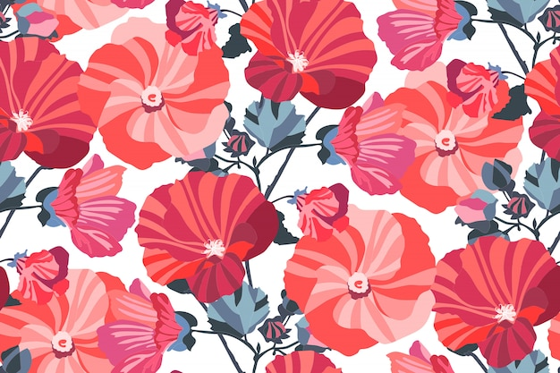 Art floral  seamless pattern. garden mallow red, pink, maroon, burgundy, orange flowers with navy blue branches and leaves isolated on white background. for wallpaper, fabric, textile, paper. Premium Vector