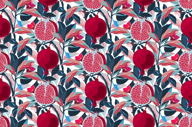 Художественный цветочный фон. гранатовое дерево с темно-бордовыми плодами, синими, фиолетовыми, оранжевыми листьями. спелые гранаты с зернами и цветами, изолированные на белом фоне. Premium векторы