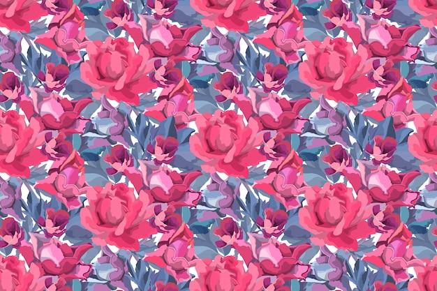 アート花のシームレスなパターン。赤、ブルゴーニュ、栗色、紫のガーデンローズ、牡丹の花とつぼみ、青い枝と白い背景で隔離の葉。 Premiumベクター