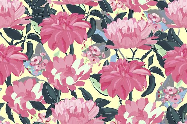 Художественный цветочный бесшовный образец. Premium векторы