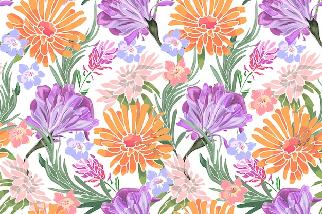 Art floral vector seamless pattern. morning glory, ipomoea, lavender, asters, rosemary, chrysanthemums, golden daisy. Premium Vector
