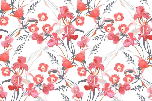 アート花のベクトルのシームレスなパターン。ピンクのサツマイモ、牡丹、アイリスの花、灰色とオレンジ色の枝、白い背景で隔離の葉。ファブリック、インテリアテキスタイル、カードのタイルパターン。 Premiumベクター