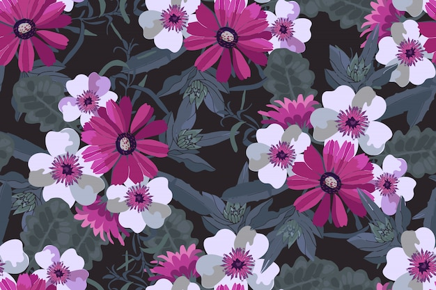 Art floral vector seamless pattern. pink and white flowers with green leaves. Premium Vector