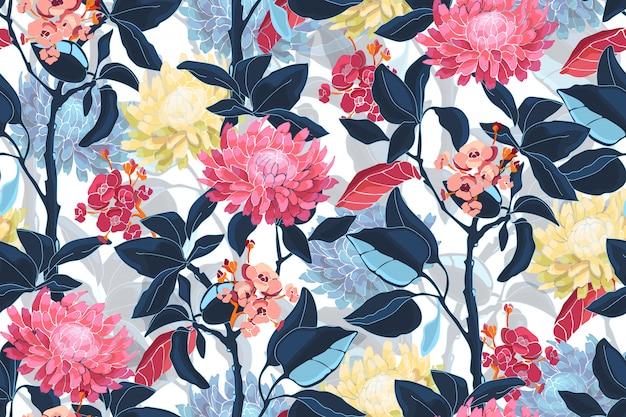 예술 꽃 벡터 완벽 한 패턴입니다. 분홍색, 노란색, 파란색 꽃. 깊고 푸른 잎, 밝은 파란색 투명 오버레이 잎. 프리미엄 벡터