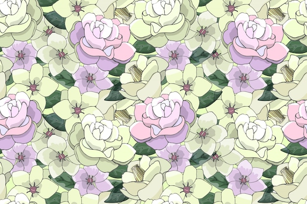 Art floral vector seamless pattern with light yellow and pink flowers. Premium Vector