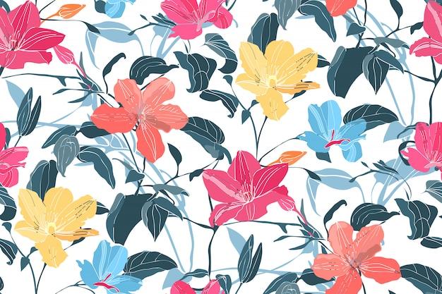 アート花のベクトルのシームレスパターン Premiumベクター