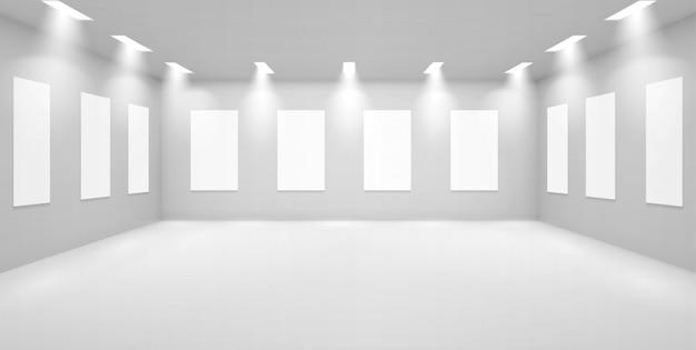 흰 벽, 박물관 빈 갤러리 3d 방 무료 벡터