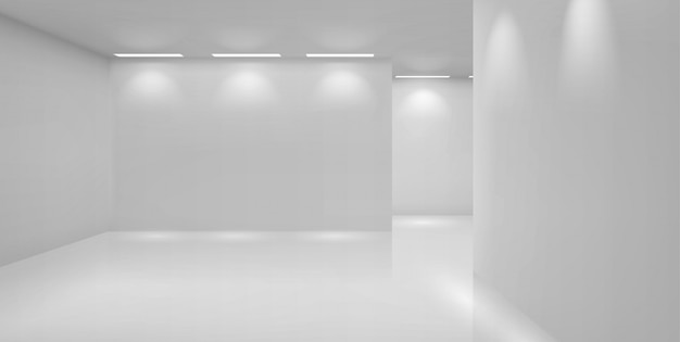 Художественная галерея пустая комната с белыми стенами и лампами Бесплатные векторы