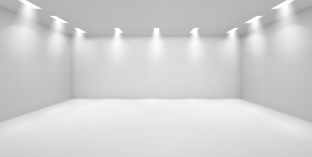 Galleria d'arte stanza vuota con pareti bianche e lampade Vettore gratuito
