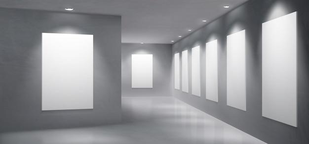 Art gallery exhibition hall empty interior vector Free Vector