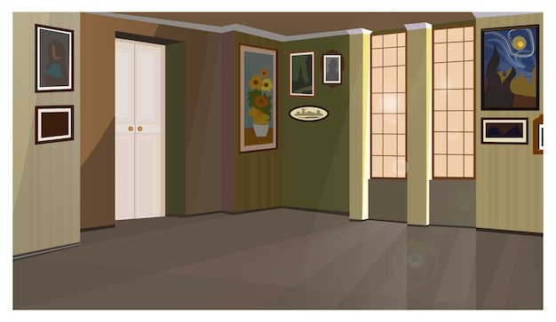 Art gallery with pictures on walls illustration Free Vector