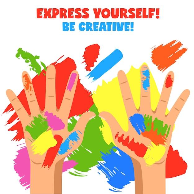 Art hands illustration Free Vector