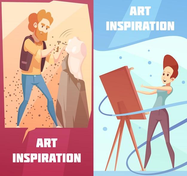 Art inspiration cartoon banners set Free Vector