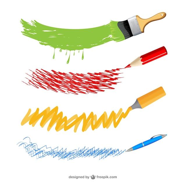 Art instruments sketches Free Vector