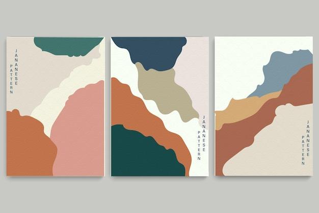 Художественный пейзажный фон с японским рисунком волны Premium векторы