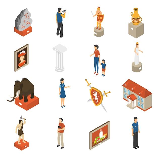 Art museum isometric icons set Free Vector