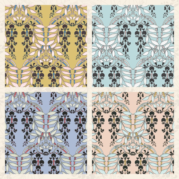 Art nouveau wisteria flower pattern collection Free Vector