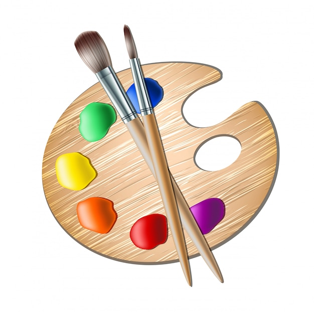 Art palette with paint brush for painting Premium Vector