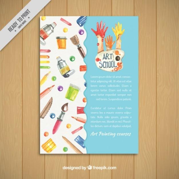 art school flyer vector free download