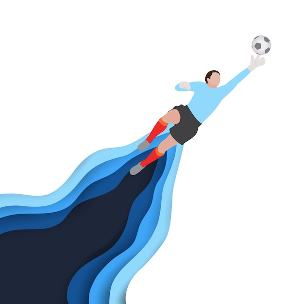 Art of soccer football player as a goalkeeper try to save the ball. Premium Vector