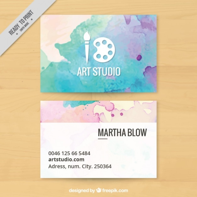Art Studio Business Card Painted With Watercolors Vector Free