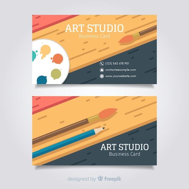 Art studio card template Free Vector