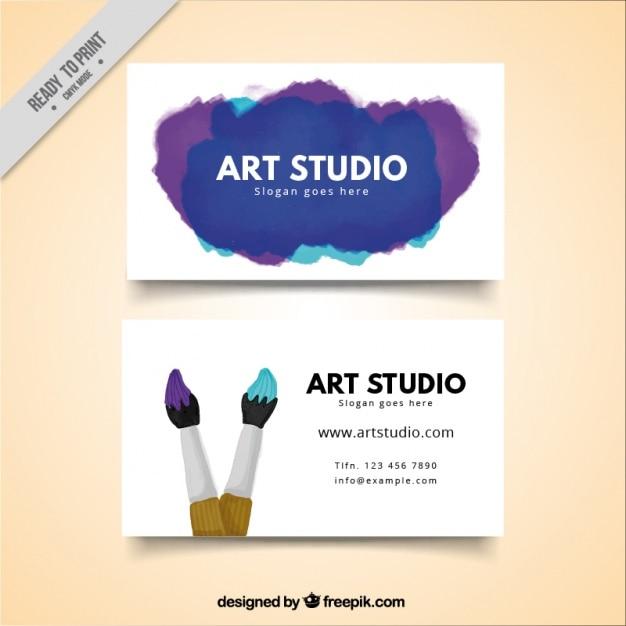 Art studio card, watercolor Free Vector