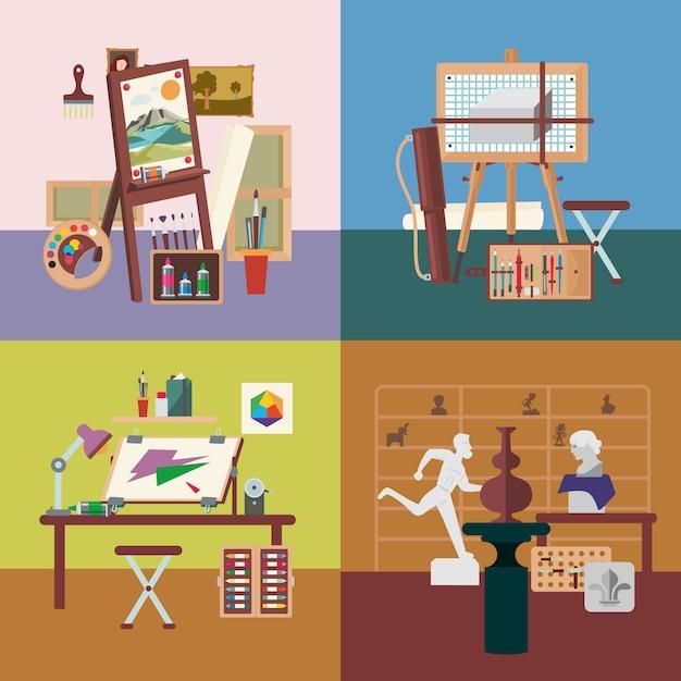 Art studio interiors square concept Vettore gratuito