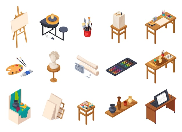Art studio isometric interior elements collection with isolated painting equipment desks tables shelves with training samples vector illustration Free Vector