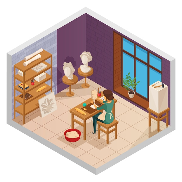 Art studio isometric interior with female sculptor at the table with training samples equipment and window vector illustration Free Vector
