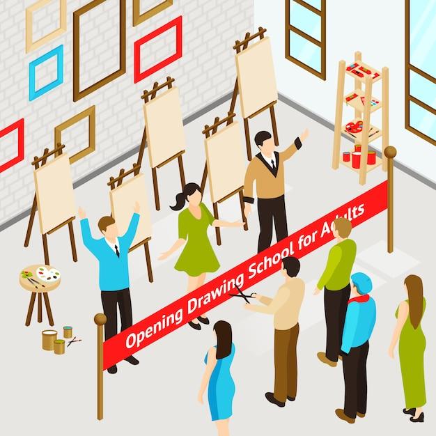 Poster isometrico di art studio Vettore gratuito