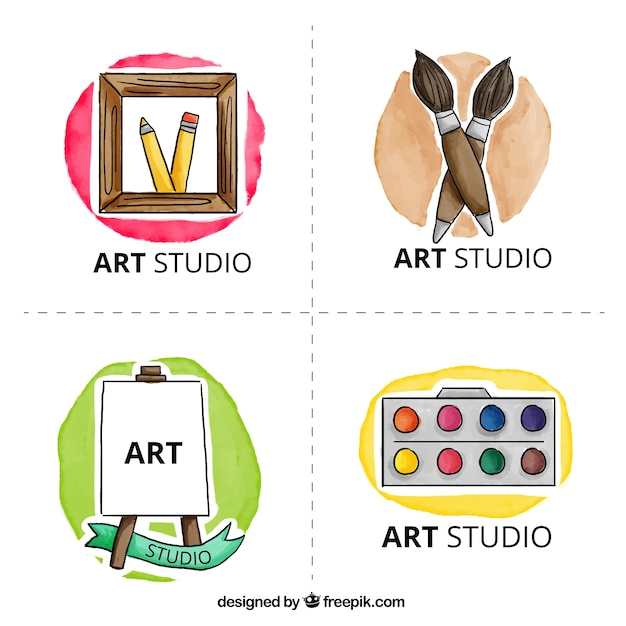 Art studio logo, watercolor Free Vector