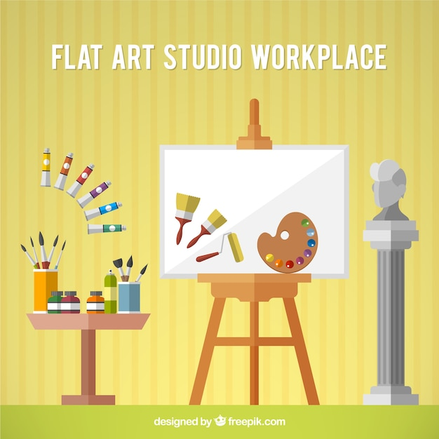 Art studio with canvas  in flat design Free Vector