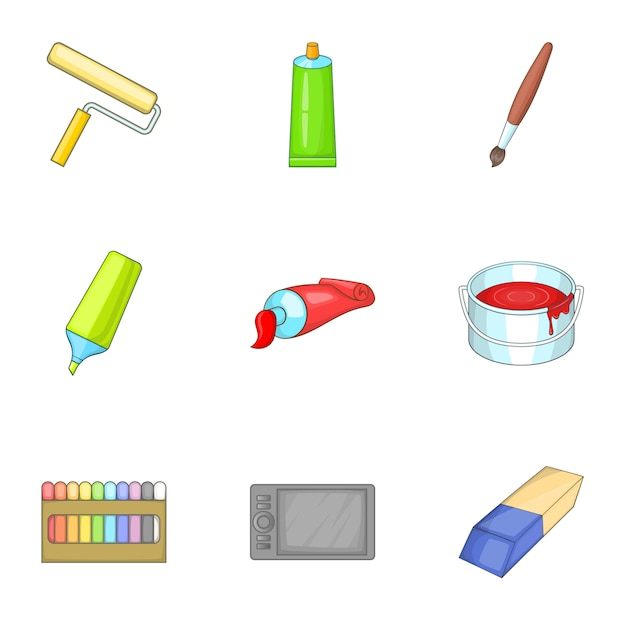 Premium Vector Art Supplies Icons Set Cartoon Style