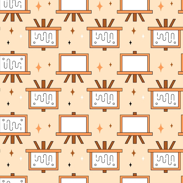 Art tools and materials creative icon seamless pattern Free Vector